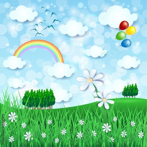 Masywnie Obraz wiosenny krajobraz z kwiatami, łąką i tęczą #187887473 VJ74