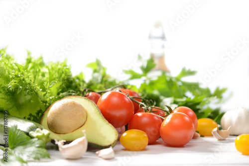 Healthy food,Vegetables and fruits on white wooden table © amenic181