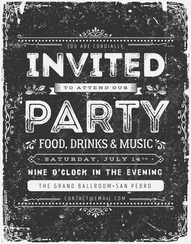 Vintage Invitation Sign On Chalkboard