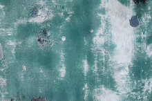 Old Weathered Painted Grunge Metal Sheet Surface With Faded And Cracked Paint Closeup As Background