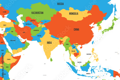 Colorful political map of western, southern and eastern Asia. Simple ...