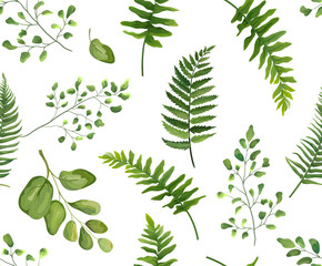 NaklejkaSeamless greenery green leaves botanical, rustic pattern Vector floral watercolor style design: forest fern frond leaf, herbs. Nature Wallpaper, natural texture, trendy print isolated white background