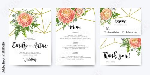 Wedding Invitation Floral Invite Card Design Pink Peach Rose