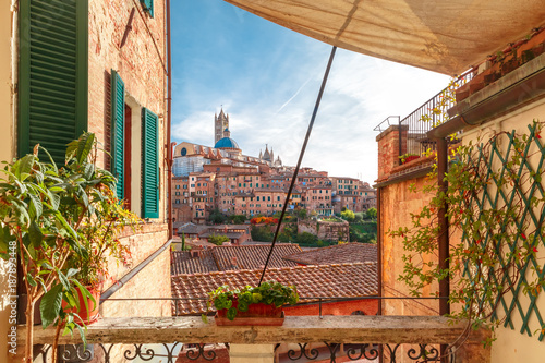 fototapeta na ścianę Beautiful view of Dome and campanile of Siena Cathedral, Duomo di Siena, and Old Town of medieval city of Siena in the sunny day through autumn leaves, Tuscany, Italy