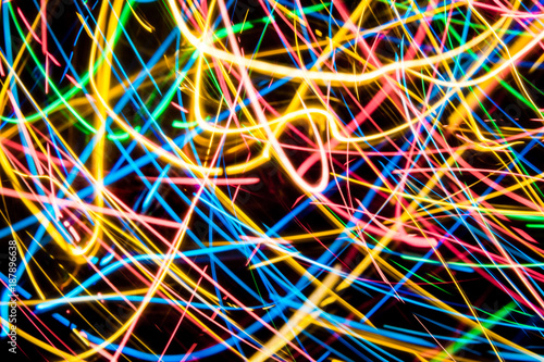 Colorful lights on the long exposure with motion background, Abstract glowing co Poster