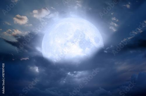 Deurstickers Nasa Night sky with moon in the clouds