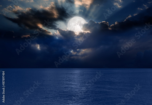 Foto op Aluminium Nasa Night sky with moon in the clouds