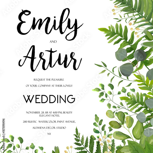 Wedding invitation floral invite card design with green fern leaves wedding invitation floral invite card design with green fern leaves elegant greenery berry stopboris Image collections