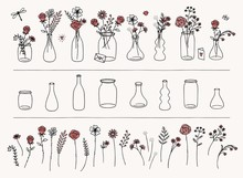 Set Of Hand Drawn Flowers And ...