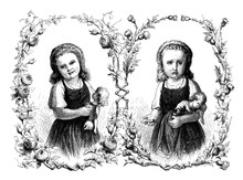Happiness And Affliction:  Girl Happy With Doll, Girl Sad With Doll With Broken Arm, Vintage Engraving