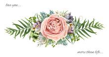 Vector Floral Bouquet Design: Garden Pink Peach Lavender Rose Wax Flower, Eucalyptus Branch Green Fern Palm Leaves, Succulent Berry. Wedding Vector Invite Illustration Watercolor Designer Cute Element
