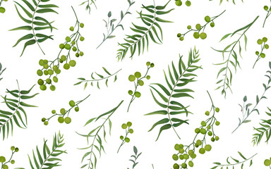 FototapetaPalm fern different tree foliage natural branches with green leaves seeds berries tropical seamless pattern, watercolor style. Vector decorative beautiful cute elegant illustration on white background