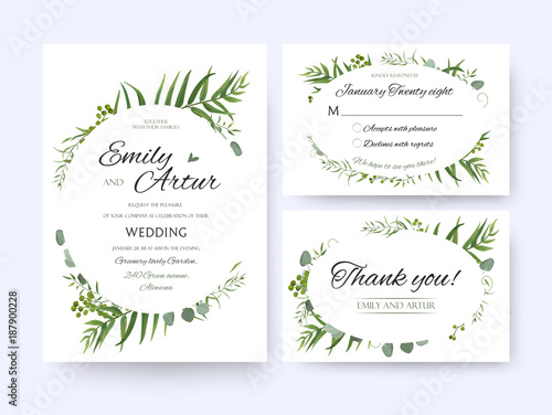 Wedding invite invitation rsvp thank you card vector floral wedding invite invitation rsvp thank you card vector floral greenery design forest fern frond stopboris Image collections