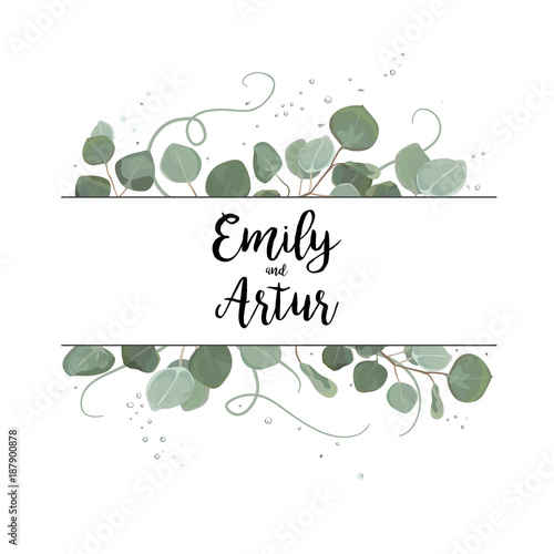 Vector floral card design eucalyptus silve dollar branch greenery vector floral card design eucalyptus silve dollar branch greenery foliage natural leaves frame in watercolor stopboris Images