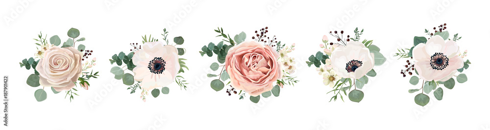 Fototapety, obrazy: Vector floral bouquet design: garden pink peach lavender creamy powder pale Rose wax flower, anemone Eucalyptus branch greenery leaves berry. Wedding vector invite card Watercolor designer element set
