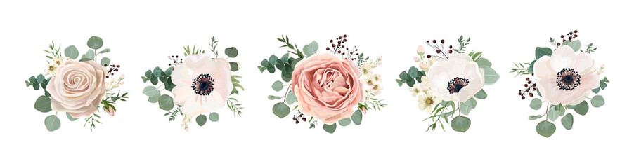 Fototapeta Vintage Vector floral bouquet design: garden pink peach lavender creamy powder pale Rose wax flower, anemone Eucalyptus branch greenery leaves berry. Wedding vector invite card Watercolor designer element set