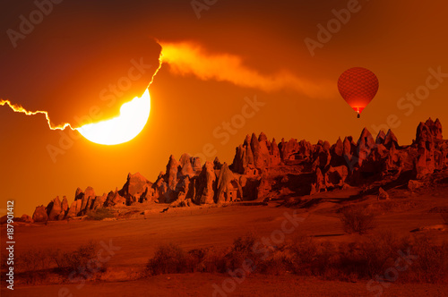 Foto op Canvas Rood traf. Hot air balloon flying over spectacular Cappadocia