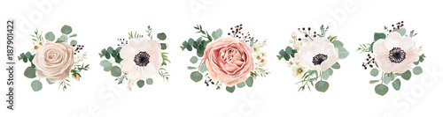 Photo Vector floral bouquet design: garden pink peach lavender creamy powder pale Rose wax flower, anemone Eucalyptus branch greenery leaves berry