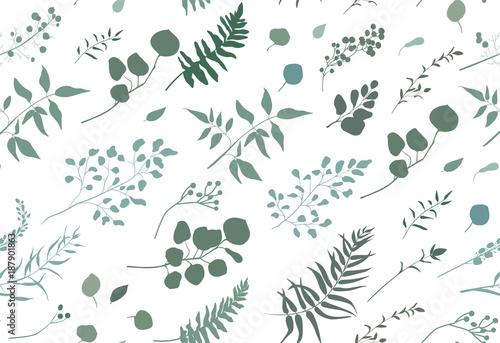 jednolite-wzor-eukaliptus-palmy-paproci-rozne-drzewa-liscie-naturalne-galezie-zielone-liscie-ziola-owoce-tropikalne-piety-recznie-rysowane-sylwetka-akwarela-wektor-piekno-eleganckie-tlo-na-bialym