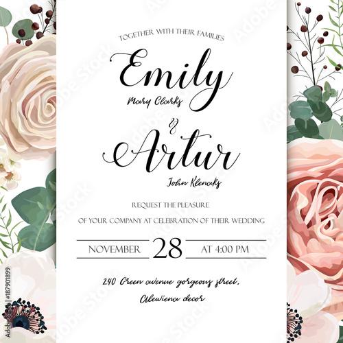 Floral Wedding Invitation elegant invite card vector Design: garden ...