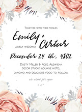 Vector Floral Wedding Invitation Invite, Save The Date Card Design With Flower Bouquet Of Peach, White Rose Peony, Dusty Miller Silver Leaves. Elegant, Tender Winter Seasonal Cute Template. Copy Space