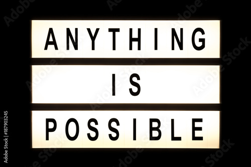 Valokuva Anything is possible hanging light box
