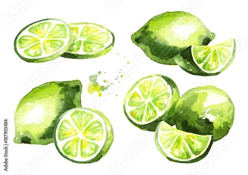 Foto Fresh lime fruit compositions set