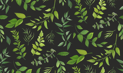 Panel SzklanySeamless pattern of Eucalyptus palm fern different tree, foliage natural branches, green leaves, herbs, tropical plant hand drawn watercolor Vector fresh beauty rustic eco friendly background on gray