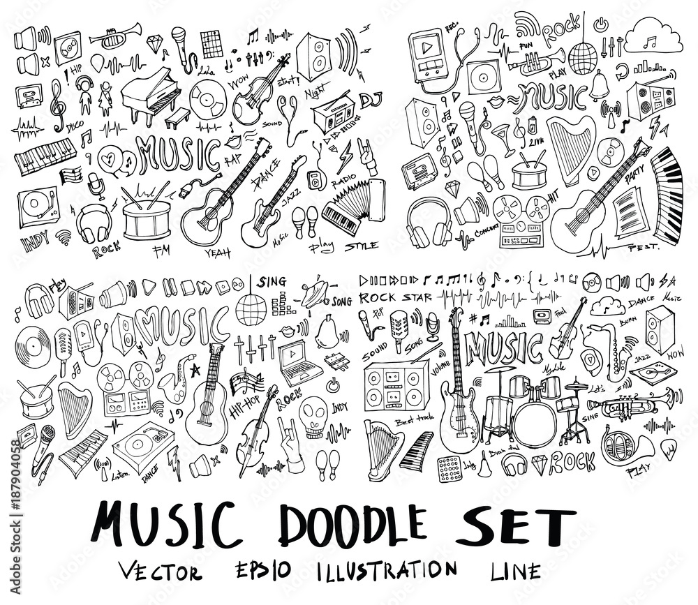 Set of Music Hand drawn doodle Sketch line vector scribble eps10