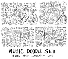 Set Of Music Hand Drawn Doodle...