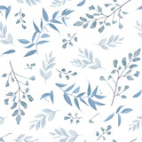 Seamless pattern, background, texture print with light watercolor hand drawn blue color dusty leaves, fern greenery forest herbs, plants. Tender, elegant textile fabric, wrapping paper backdrop layout - 187905214
