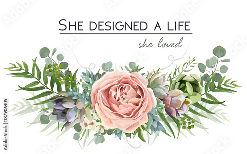Photo  Vector floral bouquet design: garden pink peach lavender Rose flower, Eucalyptus branch green fern palm leaves, succulent berry Watercolor designer element