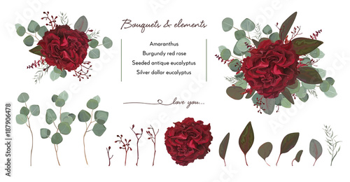 Vector Floral Bouquet Design With Garden Red Burgundy