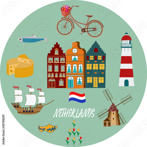 Photo Holland travel cultural and sightseeing symbols frame background poster with tul