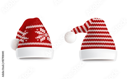 33912354de0 Vector 3d realistic illustration of two knitted santa hats with decorative  pattern on them