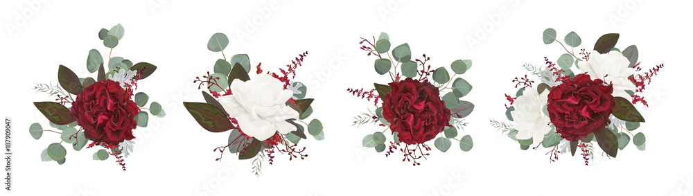 Fototapety, obrazy: Vector floral bouquet design: garden red burgundy rose white peony flower amaranthus Eucalyptus branch greenery leaves berry. Wedding vector invite card Watercolor designer editable element set bundle