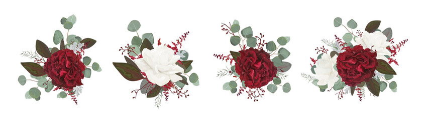 Vector floral bouquet design: garden red burgundy rose white peony flower amaranthus Eucalyptus branch greenery leaves berry. Wedding vector invite card Watercolor designer editable element set bundle