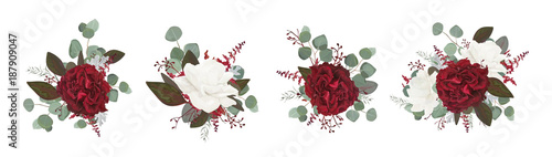 Vector floral bouquet design: garden red burgundy rose white peony flower amaranthus Eucalyptus branch greenery leaves berry Wallpaper Mural