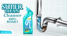 Vector Drain Pipe Cleaner Ad Poster, Detergent Bottle Near Basin Siphon, Chrome Luxury Sink Drain. Mockup Package For Brand Design, 100 Percent Result Cleanser. Illustration Bathroom Tiles Background
