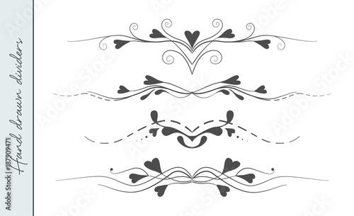 Vector Hand Drawn Flourishes Text Divider Graphic Design