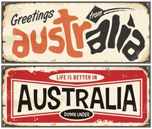 Greetings From Australia Retro Sign Template. Life Is Better In Australia Vintage Souvenir Card.