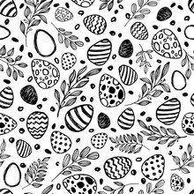 Vector Doodle Easter Seamless Pattern. Black White Watercolor, Ink Illustration Of Easter Eggs And Leaves