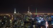 New York City,USA - November 2014: Timelapse over Manhattan from Top of the Rock at night