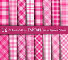 Valentine's Day Tartan Seamless Pattern Background.