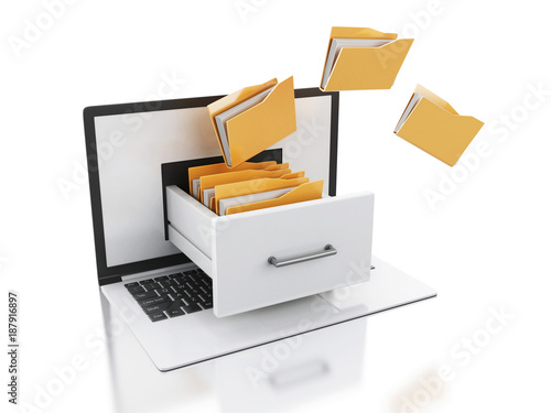 Fotomural 3d Laptop and files