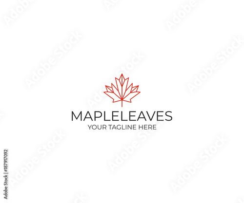Fotomural Line maple leaf logo template
