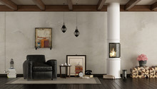 Retro Living Room With Wood St...