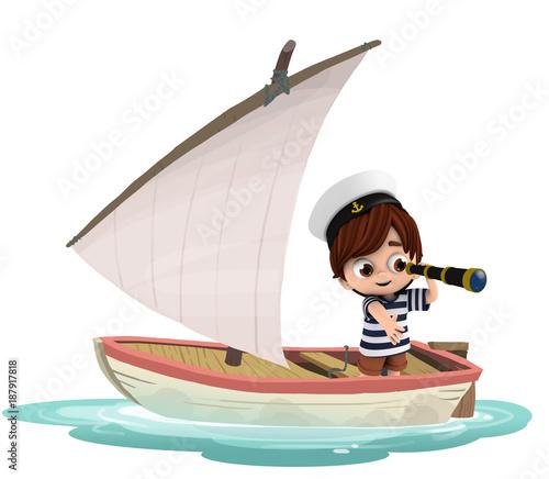 Niño en un barco con un catalejo