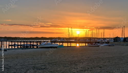 Panoramic beach sunset in El Rompido, Huelva, Spain