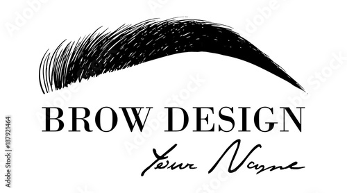 Brow design logo business card template with hand drawing